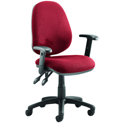 Luna II Lever Task Operator Office Chair With Height Adjustable Arms In Cherry Red
