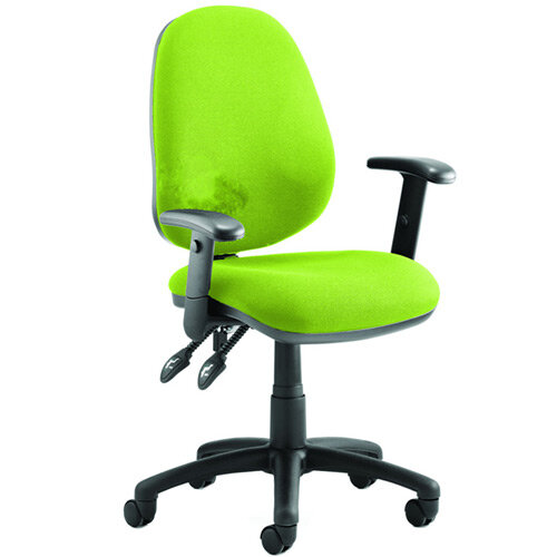 Luna II Lever Task Operator Office Chair With Height Adjustable Arms In Swizzle Green