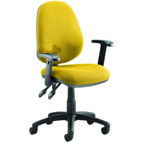 Luna II Lever Task Operator Office Chair With Height Adjustable Arms In Sunset Yellow