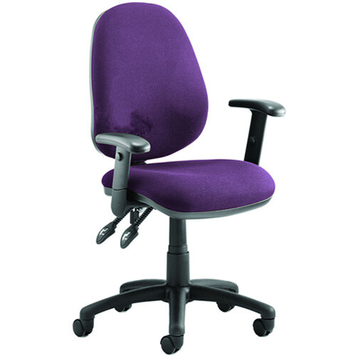 Luna II Lever Task Operator Office Chair With Height Adjustable Arms In Purple