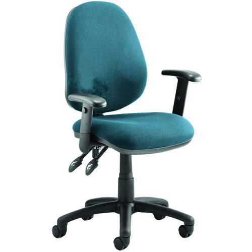 Luna II Lever Task Operator Office Chair With Height Adjustable Arms In Kingfisher Green