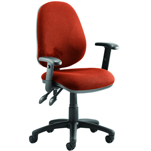 Luna II Lever Task Operator Office Chair With Height Adjustable Arms In Pimento Rustic Orange