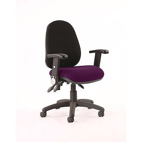 Luna III Lever Task Operator Office Chair With Height Adjustable Arms Black Back Purple Seat