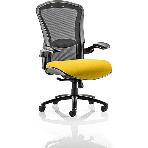 Houston Heavy Duty Task Operator Office Chair Black Mesh Back Sunset Yellow Seat
