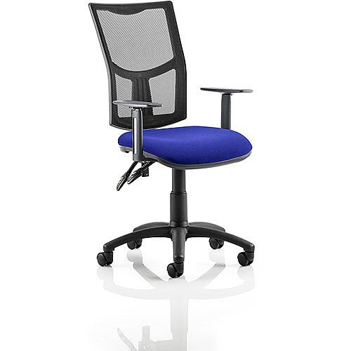Eclipse II Lever Task Operator Office Chair With Height Adjustable Arms Mesh Back &Serene Blue Seat