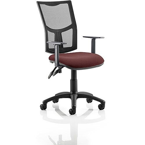 Eclipse II Lever Task Operator Office Chair With Height Adjustable Arms Mesh Back &Chilli Red Seat