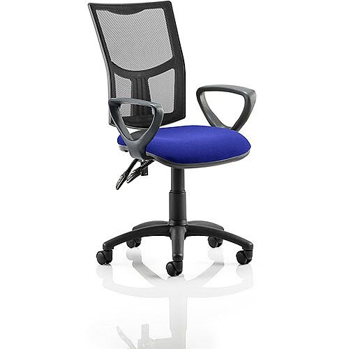 Eclipse II Lever Task Operator Office Chair With Loop Arms Mesh Back Serene Blue Seat