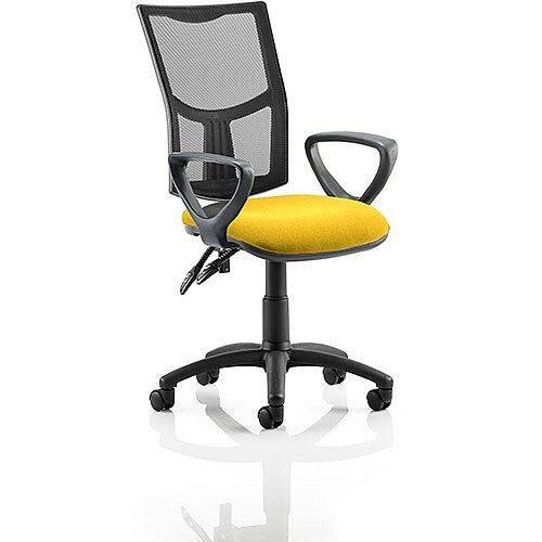 Eclipse II Lever Task Operator Office Chair With Loop Arms Mesh Back Sunset Yellow Seat