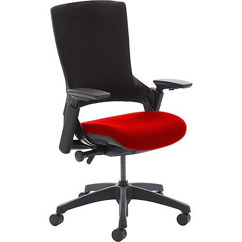 Molet Task Exec Black Frame Black Fabric Office Chair With Pimento Rustic Orange Seat