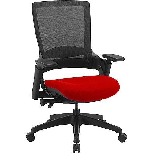 Molet Task Exec Black Frame Black Mesh Back Office Chair With Pimento Rustic Orange Seat