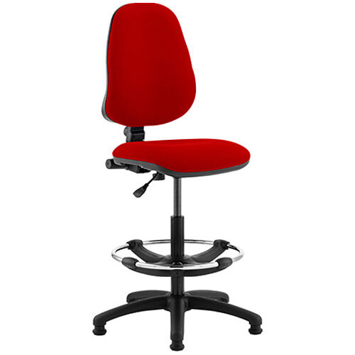 Eclipse I Lever Task Operator Office Chair Cherry Red With Draughtsman Kit