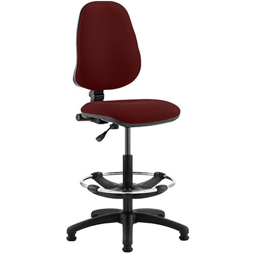 Eclipse I Lever Task Operator Office Chair Chilli Red With Draughtsman Kit