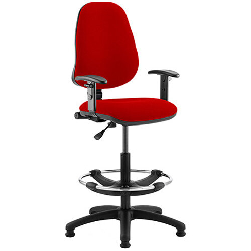 Eclipse I Lever Task Operator Office Chair Cherry Red With Height Adjustable Arms &Draughtsman Kit