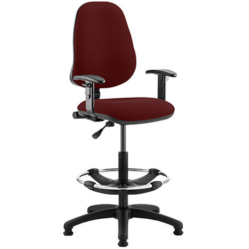 Eclipse I Lever Task Operator Office Chair Chilli Red With Height Adjustable Arms &Draughtsman Kit