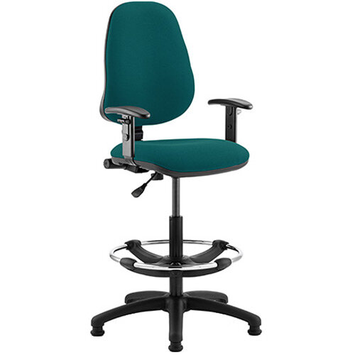 Eclipse I Lever Task Operator Office Chair Kingfisher Green With Height Adjustable Arms &Draughtsman Kit