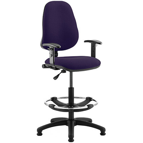 Eclipse I Lever Task Operator Office Chair Purple With Height Adjustable Arms &Draughtsman Kit