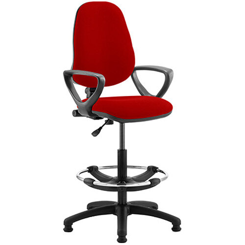 Eclipse I Lever Task Operator Office Chair Cherry Red With Loop Arms &Draughtsman Kit