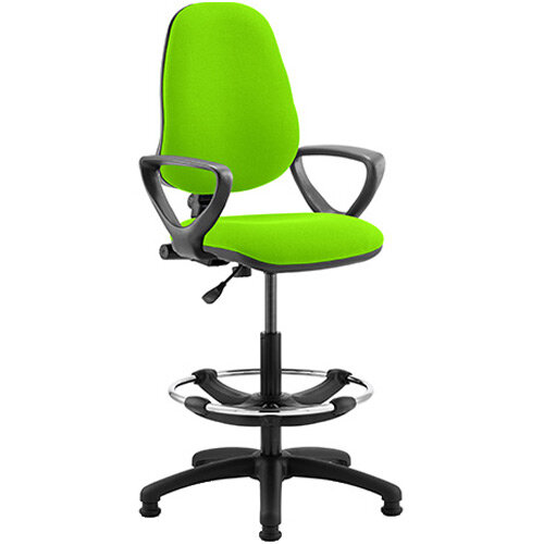 Eclipse I Lever Task Operator Office Chair Swizzle Green With Loop Arms &Draughtsman Kit