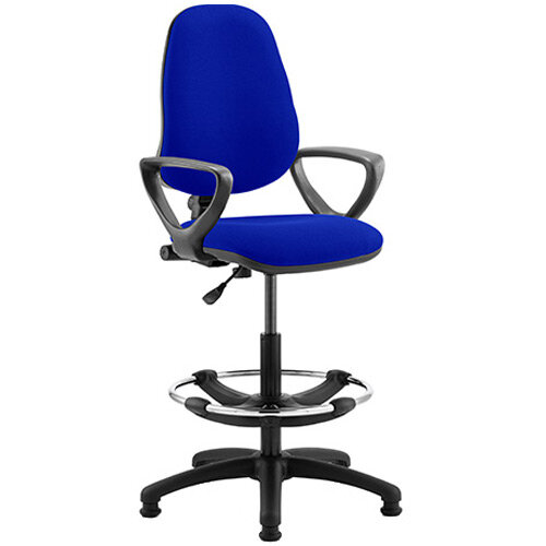 Eclipse I Lever Task Operator Office Chair Serene Blue With Loop Arms &Draughtsman Kit