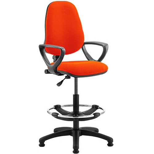 Eclipse I Lever Task Operator Office Chair Pimento Rustic Orange With Loop Arms &Draughtsman Kit
