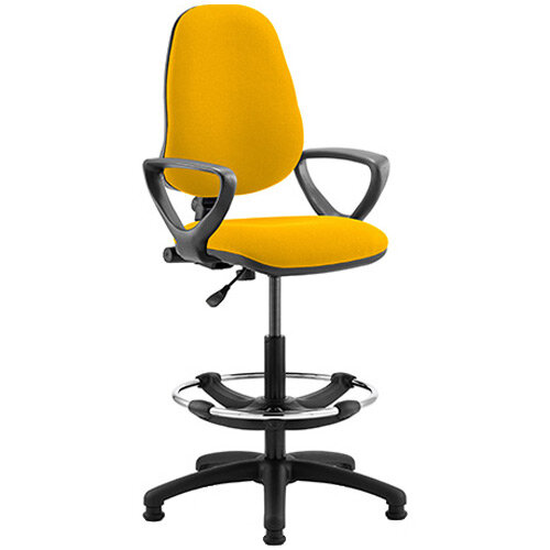 Eclipse I Lever Task Operator Office Chair Sunset Yellow With Loop Arms &Draughtsman Kit