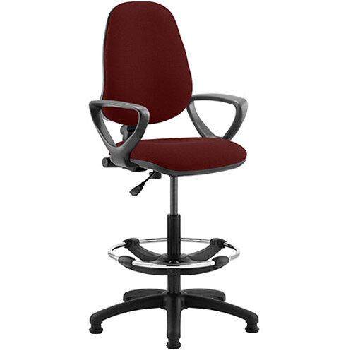 Eclipse I Lever Task Operator Office Chair Chilli Red With Loop Arms &Draughtsman Kit