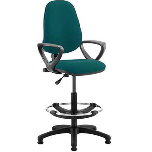Eclipse I Lever Task Operator Office Chair Kingfisher Green With Loop Arms &Draughtsman Kit