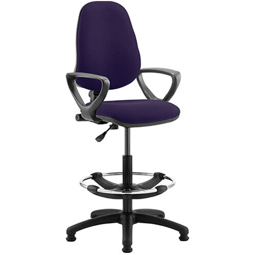 Eclipse I Lever Task Operator Office Chair Purple With Loop Arms &Draughtsman Kit