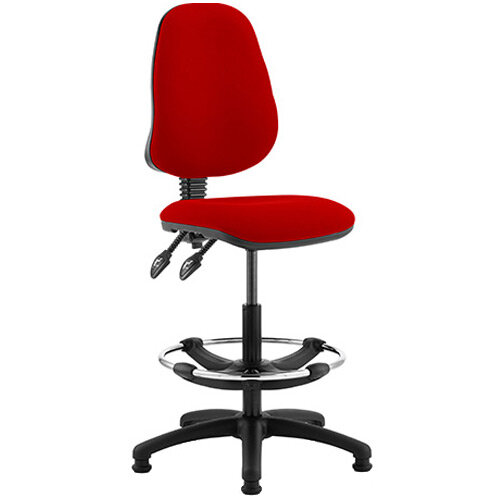 Eclipse II Lever Task Operator Office Chair Cherry Red With Draughtsman Kit