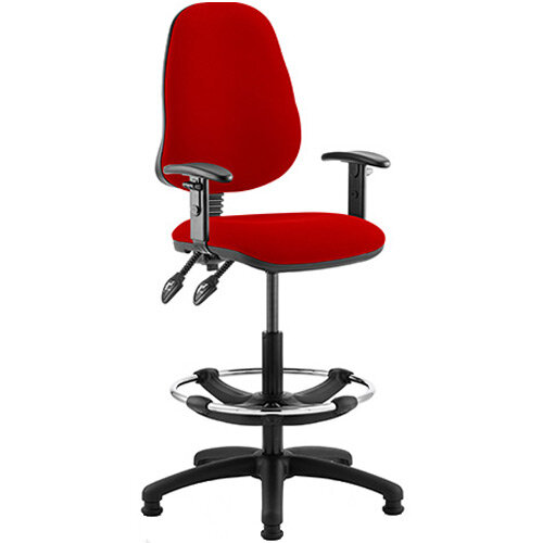 Eclipse II Lever Task Operator Office Chair Cherry Red With Height Adjustable Arms &Draughtsman Kit