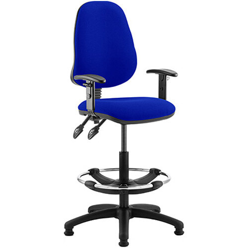 Eclipse II Lever Task Operator Office Chair Serene Blue With Height Adjustable Arms &Draughtsman Kit