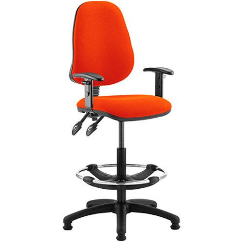 Eclipse II Lever Task Operator Office Chair Pimento Rustic Orange With Height Adjustable Arms &Draughtsman Kit