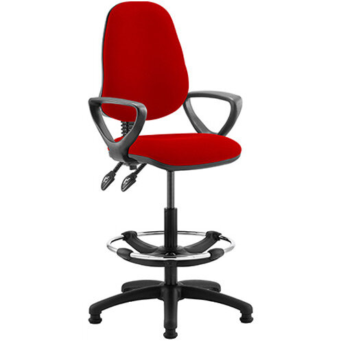 Eclipse II Lever Task Operator Office Chair Cherry Red With Loop Arms &Draughtsman Kit