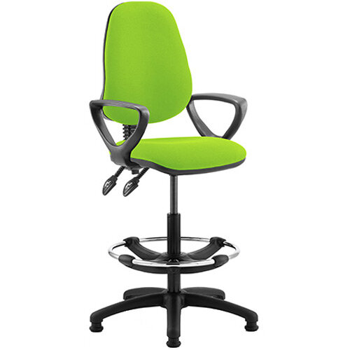 Eclipse II Lever Task Operator Office Chair Swizzle Green With Loop Arms &Draughtsman Kit