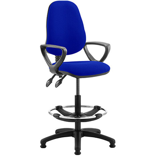 Eclipse II Lever Task Operator Office Chair Serene Blue With Loop Arms &Draughtsman Kit