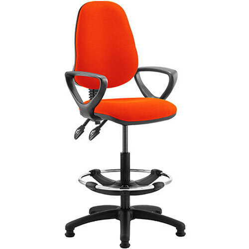 Eclipse II Lever Task Operator Office Chair Pimento Rustic Orange With Loop Arms &Draughtsman Kit