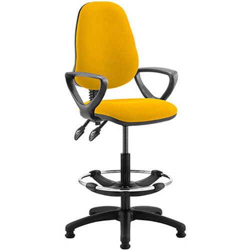 Eclipse II Lever Task Operator Office Chair Sunset Yellow With Loop Arms &Draughtsman Kit