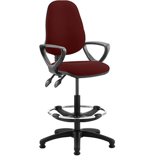 Eclipse II Lever Task Operator Office Chair Chilli Red With Loop Arms &Draughtsman Kit