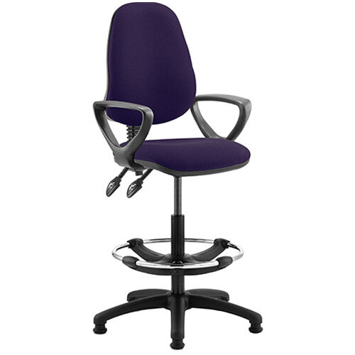 Eclipse II Lever Task Operator Office Chair Purple With Loop Arms &Draughtsman Kit