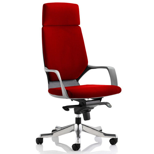 Xenon Black Frame High Back Executive Office Chair With Headrest Cherry Red