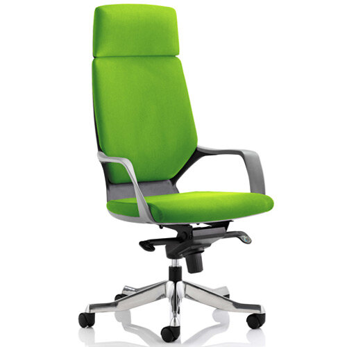 Xenon Black Frame High Back Executive Office Chair With Headrest Swizzle Green