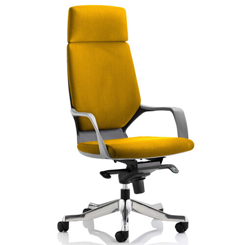 Xenon Black Frame High Back Executive Office Chair With Headrest Sunset Yellow