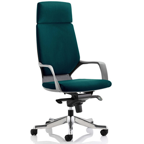Xenon Black Frame High Back Executive Office Chair With Headrest Kingfisher Green