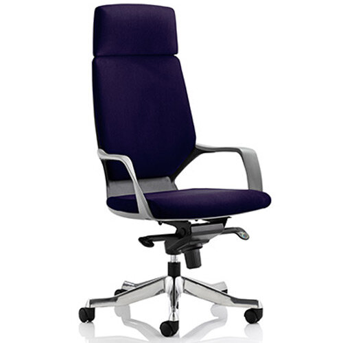 Xenon Black Frame High Back Executive Office Chair With Headrest Purple
