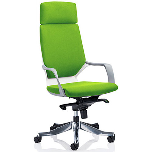 Xenon White Frame High Back Executive Office Chair With Headrest Swizzle Green