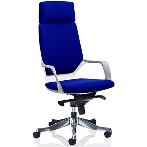 Xenon White Frame High Back Executive Office Chair With Headrest Serene Blue