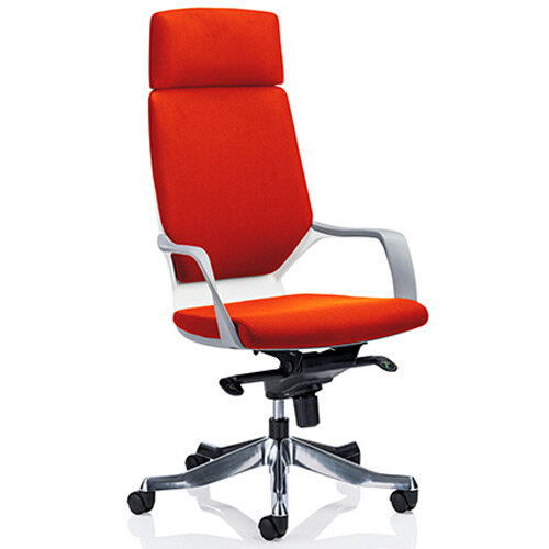 Xenon White Frame High Back Executive Office Chair With Headrest Pimento Rustic Orange