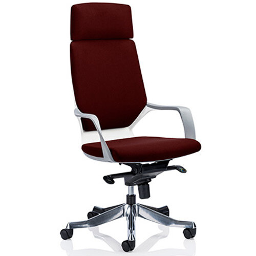 Xenon White Frame High Back Executive Office Chair With Headrest Chilli Red