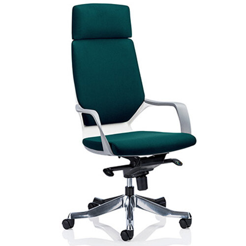 Xenon White Frame High Back Executive Office Chair With Headrest Kingfisher Green