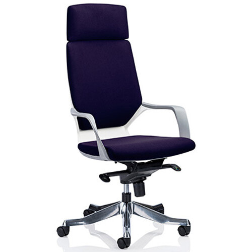 Xenon White Frame High Back Executive Office Chair With Headrest Purple